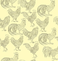 Roosters doodles pattern vector