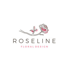 rose line logo icon outline monoline vector image