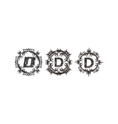 Rough letter d template set vector