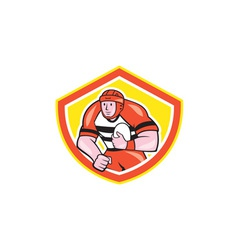 Rugby player holding ball shield cartoon vector