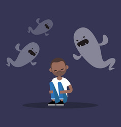 Scared black man surrounded by ghosts flat vector