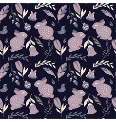 Seamless pattern with animals and flowers vector