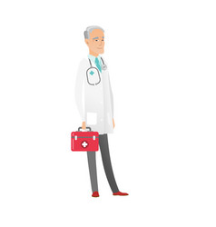 senior caucasian doctor holding first aid box vector image