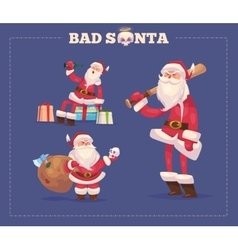 set bad santa christmas greeting card vector image