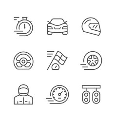set line icons of racing vector image