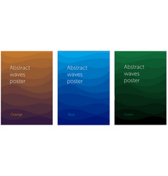 set of abstract wavy posters vector image