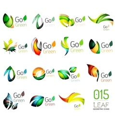 Set of colorful geometric leaves created with vector image