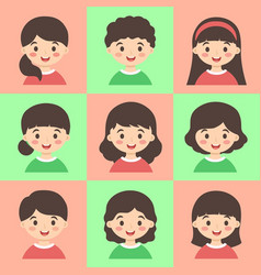 set of cute kids face avatar red green vector image