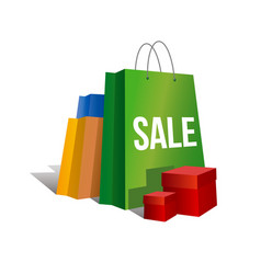 Set of paper shopping bags with word sale vector