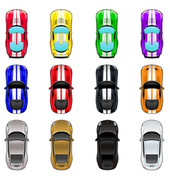 Set of three cars in four different colors vector