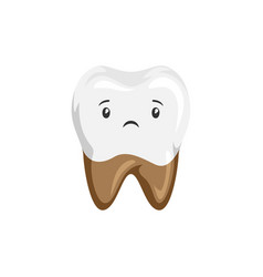 Sick tooth with rotten roots vector