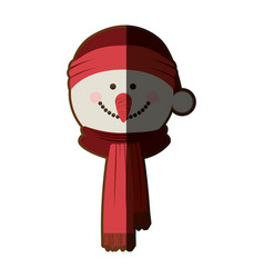 Silhouette of snowman face with scarf and vector