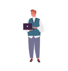 smiling programmer or businessman working vector image