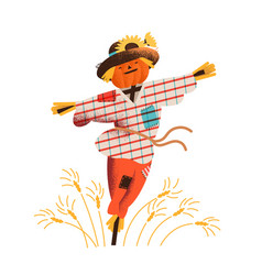 smiling straw scarecrow dressed in old clothes vector image