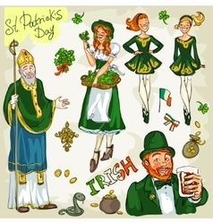 St Patricks Day - hand drawn clip art collection vector