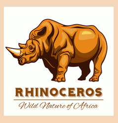 stylized rhino in vintage style for vector image