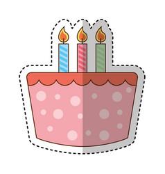 sweet cake birthday icon vector image