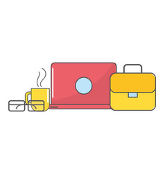 technology suitcase cartoon vector image