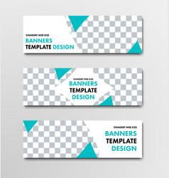 Template of white horizontal web banners with vector
