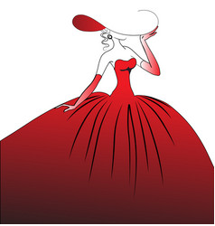the girl in a red ball dress vector image