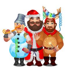 Three men in funny carnival christmas costumes vector