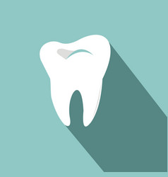 Tooth icon with long shadow flat design style vector
