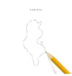 Tunisia freehand pencil sketch outline map vector