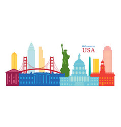 united states america usa landmarks skyline vector image