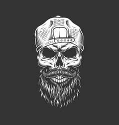 vintage monochrome hipster skull in cap vector image