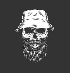 Vintage skull wearing panama hat vector