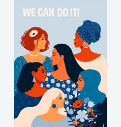 We can do it poster international womens day vector