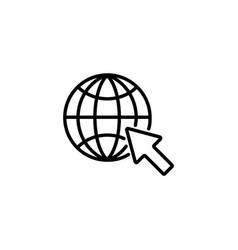Web line icon globe go to web vector