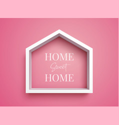 white frame in shape of house on pink background vector image