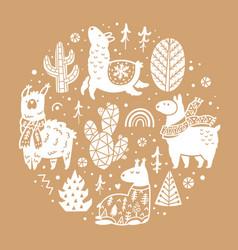 with cute llamas alpacas vector image