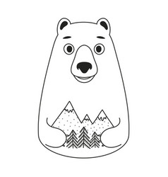 with cute white bear holding pine trees vector image