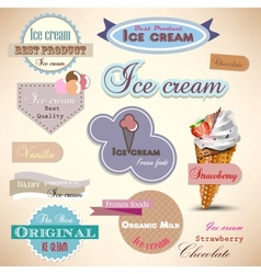 Set of vintage ice cream shop badges and labels vector image vector image