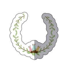 Sticker decorative half crown branch with vector