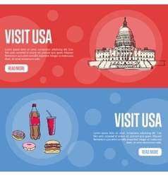 Visit USA Touristic Web Banners vector image vector image