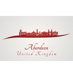 Aberdeen skyline in red vector image vector image