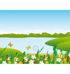 flowers on the river bank vector image