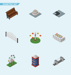 isometric architecture set of swing attraction vector image vector image