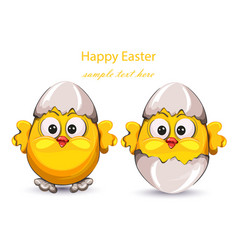 easter card with cracked eggs and cute little vector image