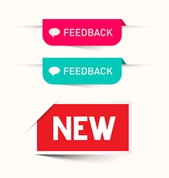 Feedback and New Paper Labels - Stickers Set - Web vector image vector image