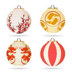 japanese paper lantern set vector image vector image
