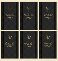 Set of cards with a variety of tea vector