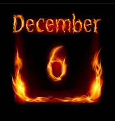 sixth december in calendar of fire icon on black vector image vector image