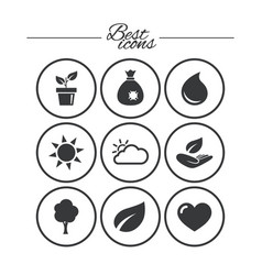 sprout leaf icons garden and weather signs vector image
