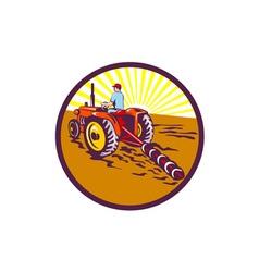 Farmer On Tractor Circle Retro vector image vector image