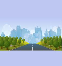 road to city landscape vector image