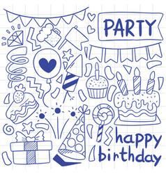 07-09-037 hand drawn party doodle happy birthday vector